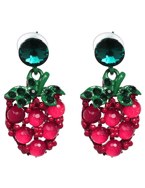 Fashion Green+red Strawberry Shape Decorated Earrings