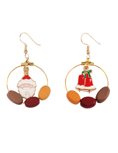 Fashion Multi-color Santa Claus Shape Decorated Earrings