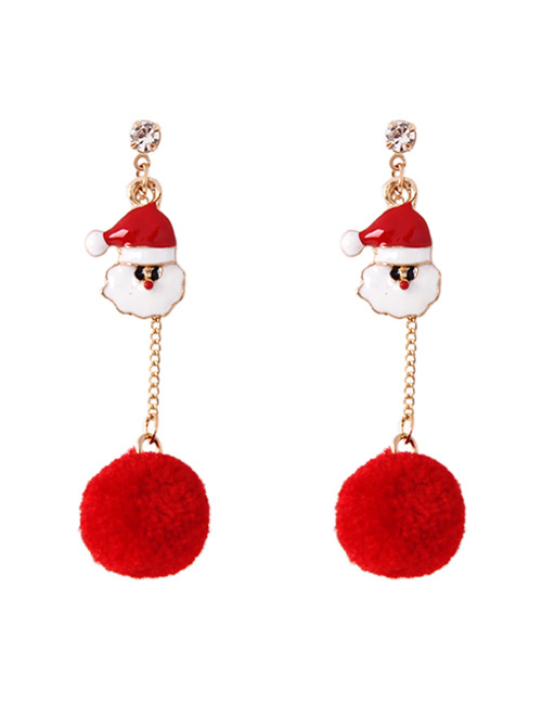 Fashion Red Santa Claus Shape Decorated Earrings
