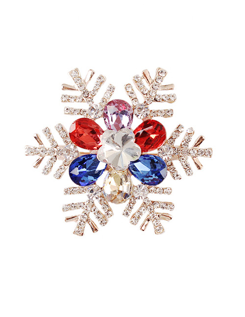 Fashion Multi-color Snowflake Shape Design Brooch