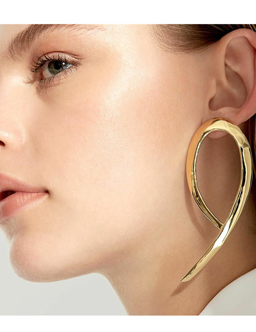 Vintage Gold Color Pure Color Design Long Earrings