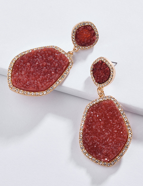 Fashion Red Irregular Shape Decorated Earrings