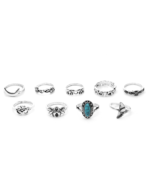 Simple Silver Color Elephant Shape Decorated Ring (9 Pcs )