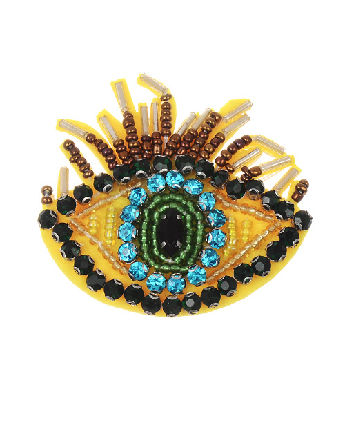 Fashion Yellow Eye Shape Decorated Brooch