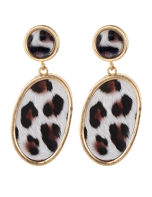 Fashion White Leopard Pattern Decorated Earrings