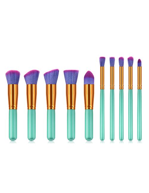 Fashion Green Flat Shape Decorated Makeup Brush(10pcs)