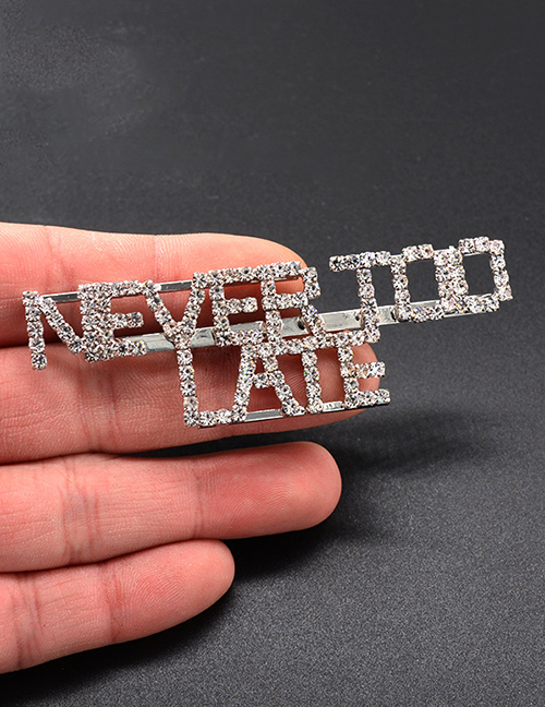 Fashion Silver Color Letter Shape Design Pure Color Brooch