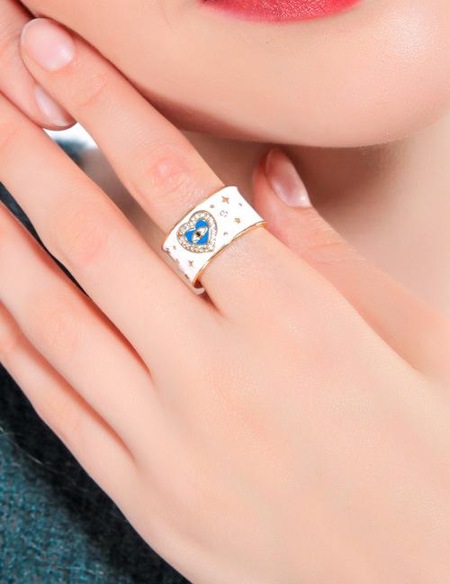 Fashion Silver Heart-shaped Diamond Drop Oil Devil's Eye Ring