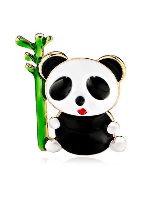 Fashion Color Alloy Drip Panda Brooch