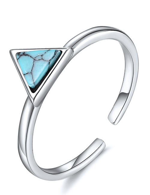 Fashion Silver Open Triangle Turquoise 925 Silver Ring