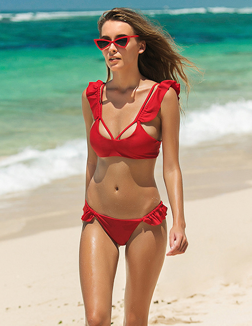 Fashion Red Ruffled Split Swimsuit