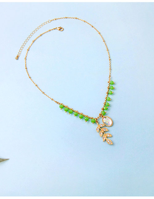 Fashion Gold Leaf Glass Beads Crystal Diamond Necklace