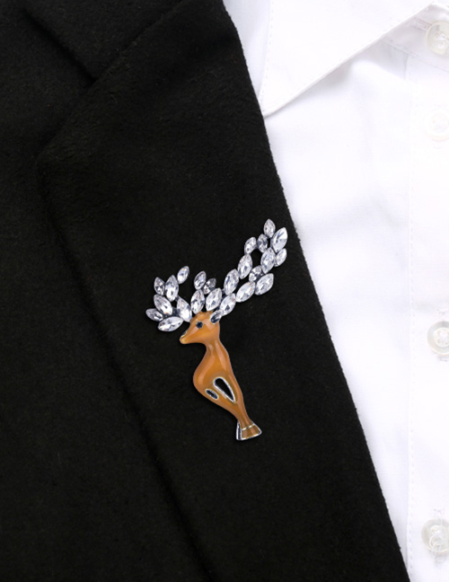 Fashion Light Brown Alloy Drop Oil Studded Christmas Deer Brooch