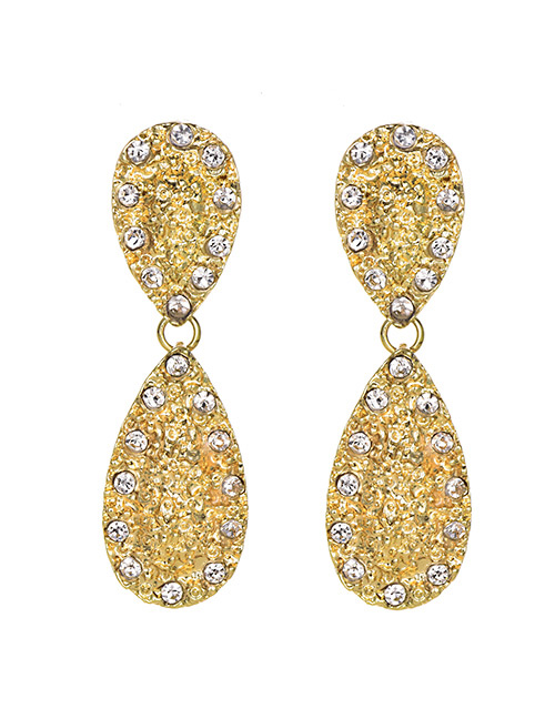 Fashion Gold Alloy Diamond Drop Shape Earrings