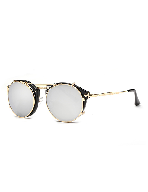 Fashion Black Frame White Mercury Flat Mirror Sunglasses Dual-use Mirror