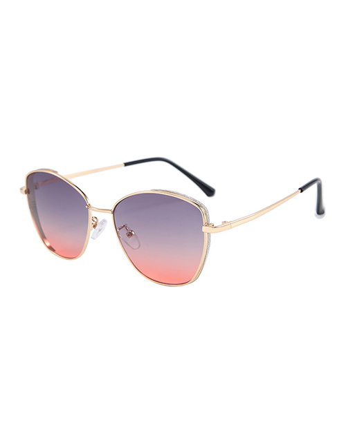 Fashion Red On Gray Metal Round Frame Sunglasses