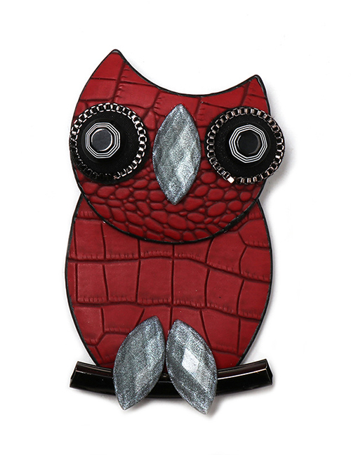 Fashion Red Owl Leather Brooch