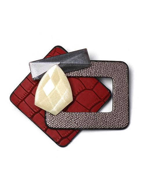 Fashion Red Geometric Diamond-studded Resin Brooch