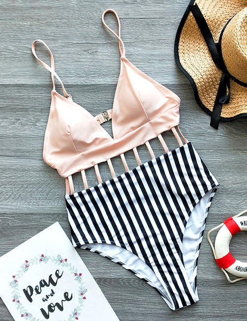 Fashion 藕 Pink + Striped Print Striped Strapless Open-back Cutout Swimsuit