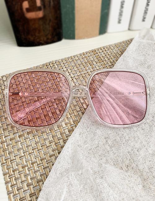Fashion Pink Resin Pc Square Transparent Sunglasses