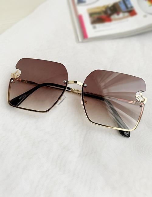 Fashion Brown Alloy Pc Star Geometric Gradient Sunglasses