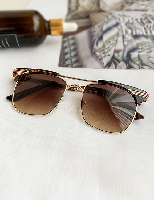 Fashion Brown Alloy Pc Geometric Sunglasses