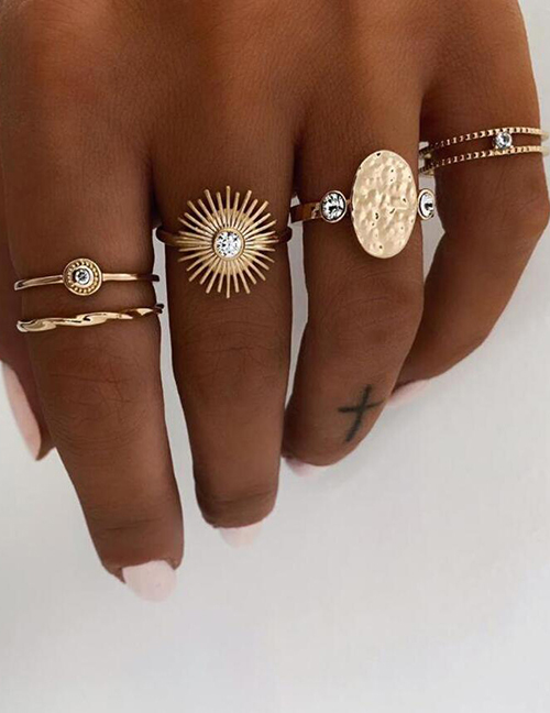 Fashion Golden Sun Diamond Irregular Convex Geometric Ring Set