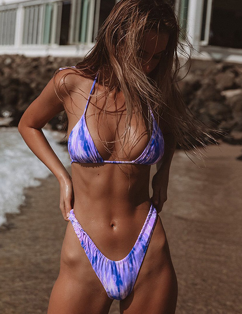Fashion Purple Tie-dye Halter Elastic Triangle Split Swimsuit