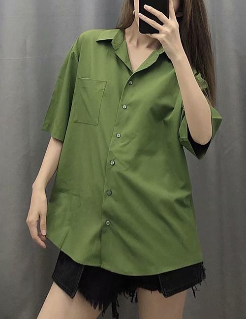 Fashion Matcha Green Single Breasted Shirt