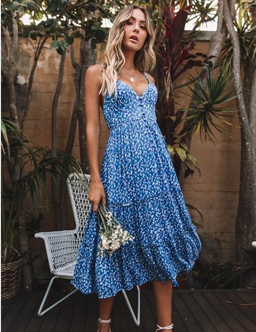 Fashion Blue Flower Print Suspender V-neck Open Back Dress