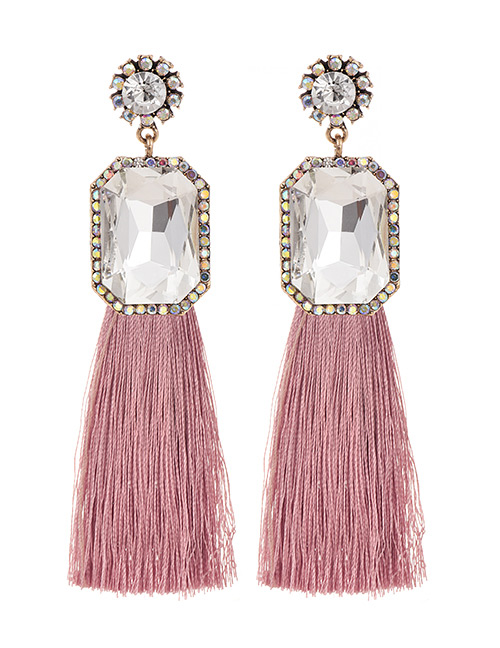 Fashion Leather Pink + White Alloy Rhinestone Square Long Fringe Stud Earrings