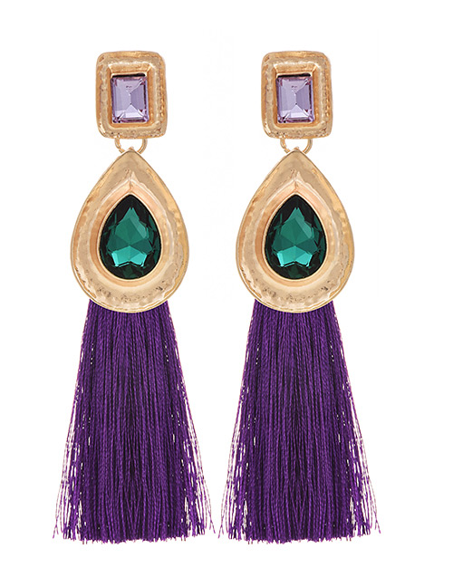 Fashion Purple Alloy Rhinestone Water Drop Long Tassel Stud Earrings