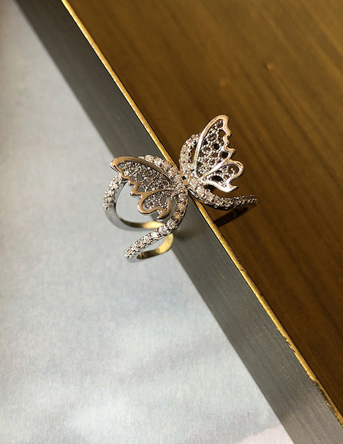 Fashion Hollow Silver Zircon Butterfly Cutout Adjustable Ring