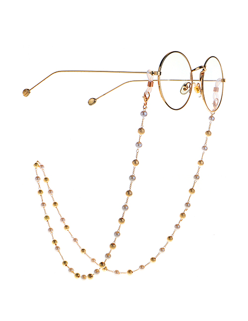 Fashion Golden Frosted Ball Pearl Sweater Chain Glasses Chain Dual Use