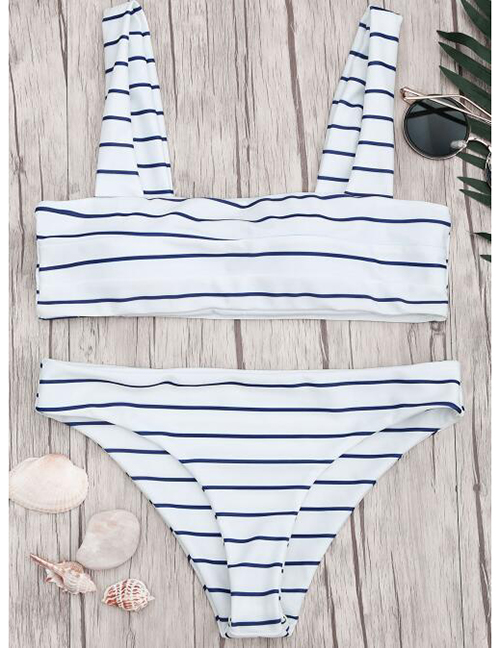 Fashion Black And White Stripes Striped Printed Tank Top Pleated Split Swimsuit