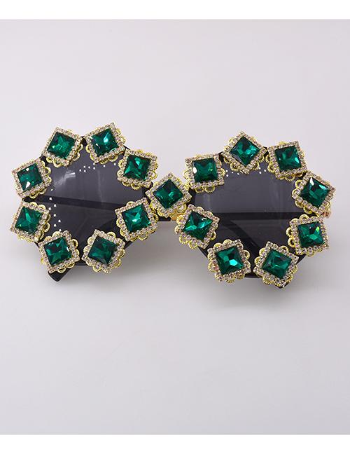 Fashion Green Diamond-shaped Uv-resistant Geometric Round Sunglasses