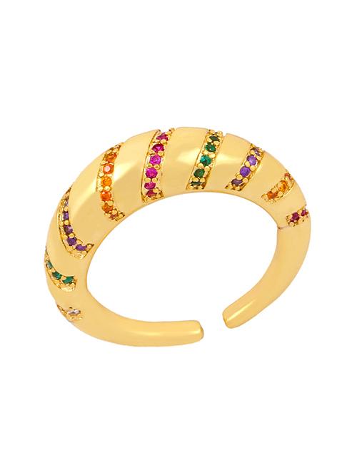 Fashion Golden Copper-set Zircon Fine-edged Open Ring