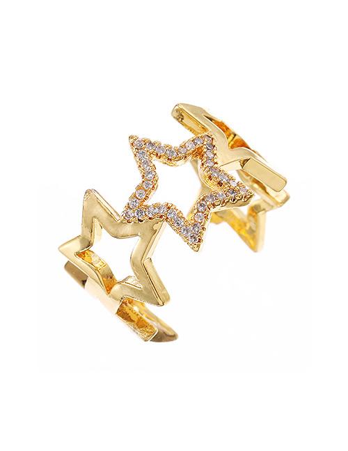 Fashion Golden Copper-set Zircon Five-pointed Star Ring