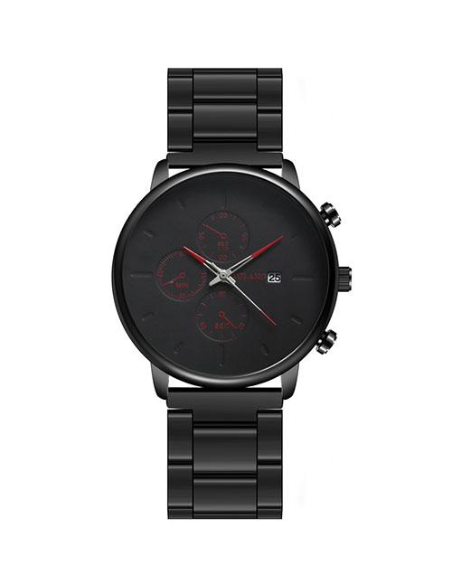 Fashion Black Red Needle Three Eyes Ultra Thin Quartz Men's Steel Band Watch