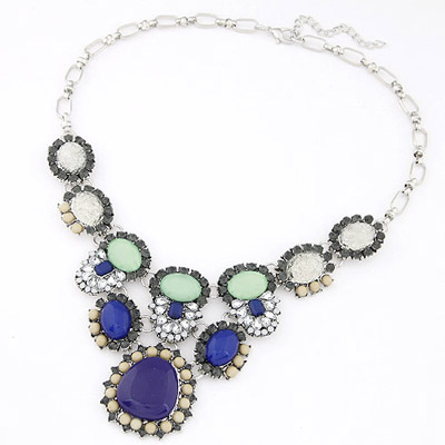 Medieval Drak Blue Oval Shape Gemstone Decorated Simple Design Alloy Bib Necklaces