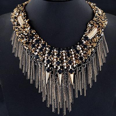 Rave Black Gemstone Decorated Rivet Tassel Design