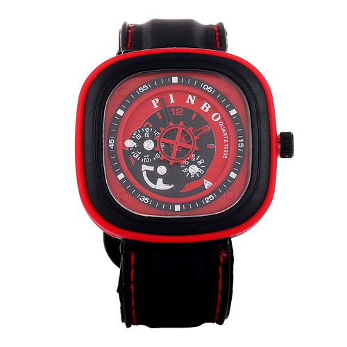 Casual Red Second Disc Decorated Square Shape Design