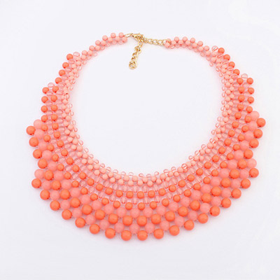 Bohemia Padparadscha Gemstone Decorated Multilayer Design Alloy Bib Necklaces