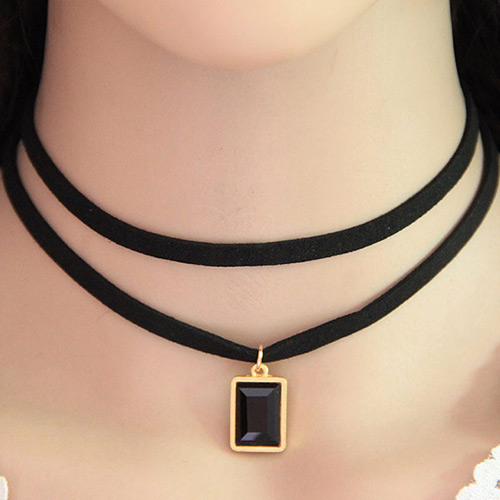 Temperament Black Square Gemstone Pendant Decorated Double Layer Necklace