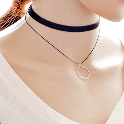 Vintage Balck Hollow Out Polygon Pendant Decorated Double Layer Choker Necklace