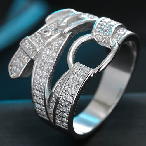 Sweet Silver Color Diamond Decorated Pure Color Design Belt Shape Ring