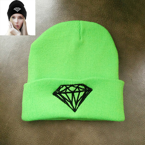 Fashion Fluorescent Green Diamond Shape Pattern Decorated Simple Hat