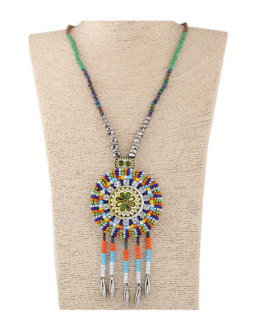 Fashion Multi-color Beads Decorated Tassel Design Color Matching Sweater Chain