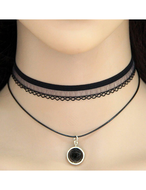 Vintage Black Round Shape Pendant Decorated Double Layer Choker