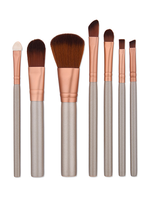 Fashion Brown Color Matching Decorated Makeup Brush(7pcs)